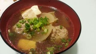 「ほっかぶらNight」で出た烏骨鶏(ウコッケイ)のつみれ汁♪ハンパない美味さ!!